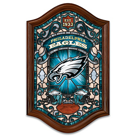 Philadelphia Eagles Wood Frame Illuminated Stained Glass Wall Decor
