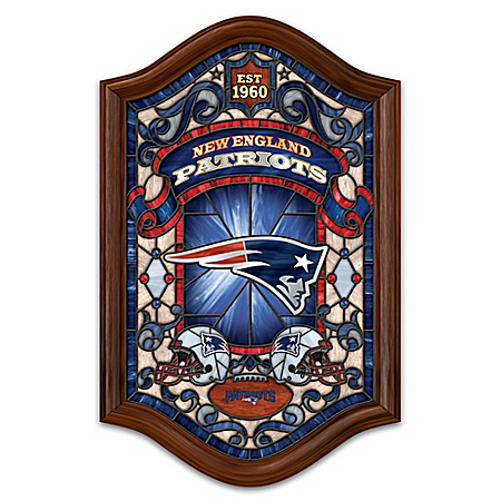 New England Patriots Illuminated Wood Frame Stained-Glass Wall Decor