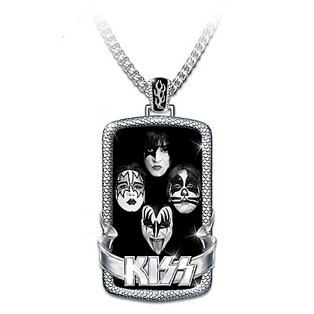 KISS Men's Stainless Steel Dog Tag Pendant Necklace