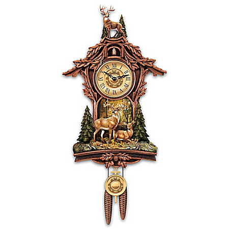 Whitetail Deer Gathering Cuckoo Clock