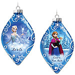 Disney FROZEN Christmas Tree Ornaments Set One - Let It Go And Listen To Your Heart With Elsa And Anna