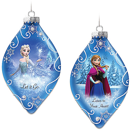 Disney FROZEN Christmas Tree Ornaments Set One: Let It Go And Listen To Your Heart With Elsa And Anna