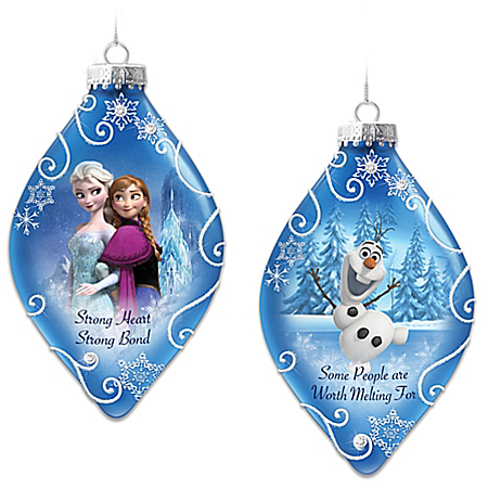Disney FROZEN Christmas Tree Ornaments Set Two Featuring Elsa, Anna And Olaf The Snowman