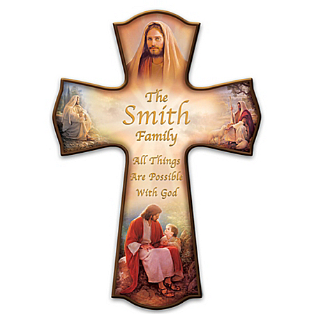 The Lord's Blessings Personalized Family Name Cross Wall Decor
