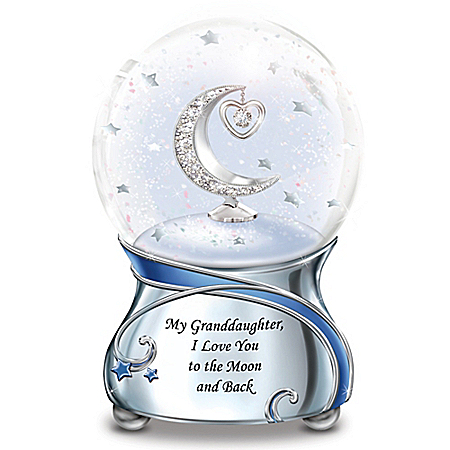 Granddaughter, I Love You To The Moon And Back Musical Glitter Snowglobe