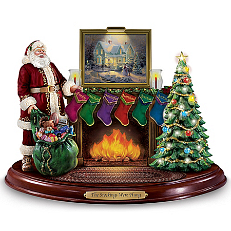 Thomas Kinkade Santa Sculpture with Personalized Stockings Lights and Music