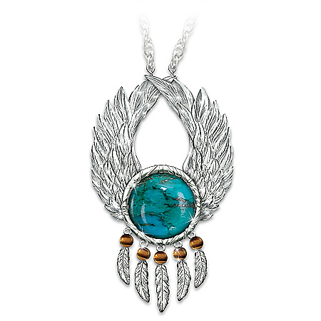 Let Your Dreams Soar Native American Style Dreamcatcher Pendant Necklace