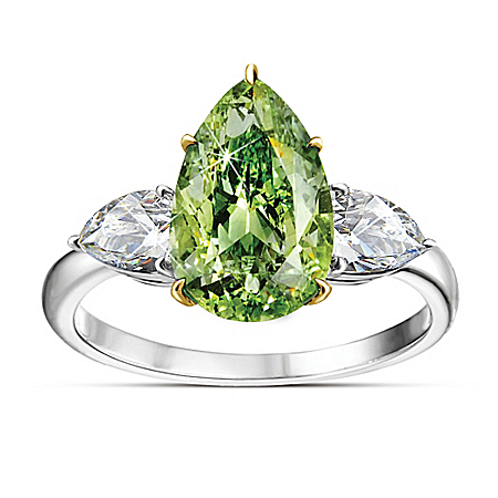 Auction Collection Dresden Green Pear-Shaped Sterling Silver Diamonesk Women's Ring