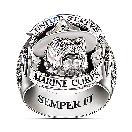 USMC Devil Dogs Stainless Steel And Black Onyx Ring