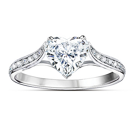 Auction Collection Love At First Sight Heart-Shaped Sterling Silver Diamonesk Women's Ring