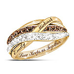 Together In Love Personalized Mocha And White Diamonds Women's Ring