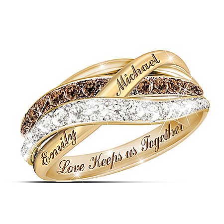 Together In Love Personalized Mocha And White Diamonds Women's Ring – Personalized Jewelry