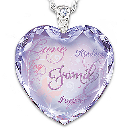 The Heart Of Our Family Personalized Pendant Necklace With Crystal Heart