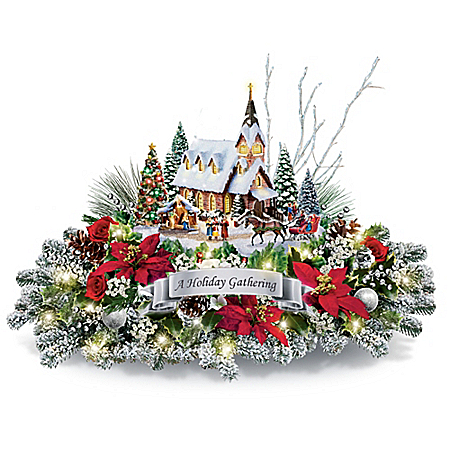 Thomas Kinkade A Holiday Gathering Christmas Tale Centerpiece