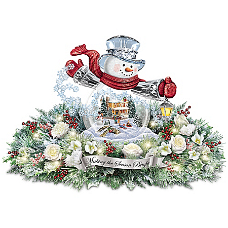 Thomas Kinkade Making The Season Bright Table Centerpiece