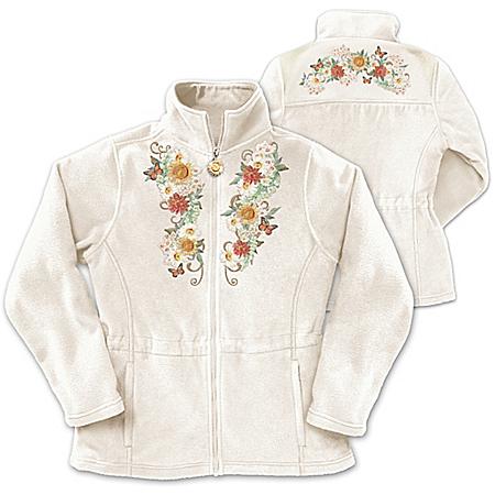 Sunflower Splendor - Embroidered White Fleece Women's Jacket