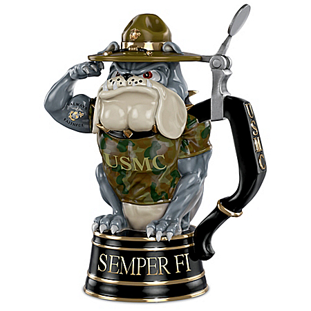 Always Faithful USMC Devil Dog 24-Ounce Drink-Safe Porcelain Stein