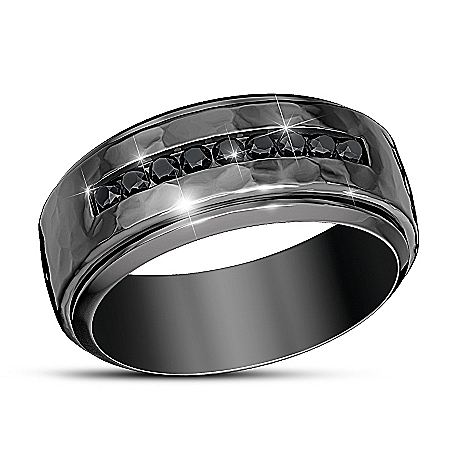 Need For Speed Black Sapphire Men's Stainless Steel Ring