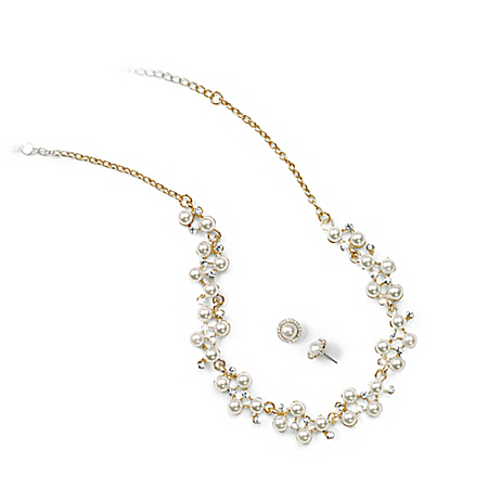 Facets Of You Sparkling Champagne Necklace And Earrings Jewelry Set