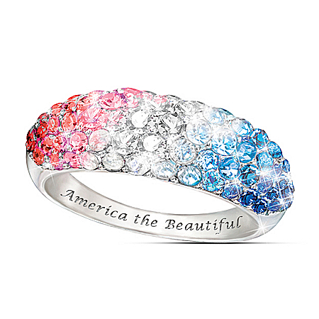 America The Beautiful Red, White And Blue Patriotic Women's Ring