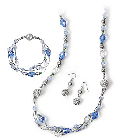 Facets Of You Morning Dew Necklace, Bracelet And Earrings Floral Jewelry Set