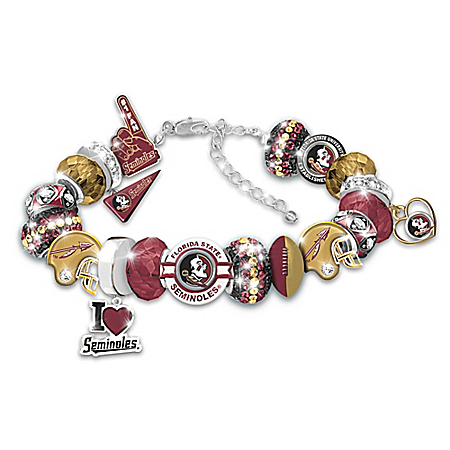 Florida State Seminoles Charm Bracelet: Team Color Crystal and Enameling Charms