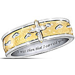 Footprints In The Sand Cross Women's Spinning Ring