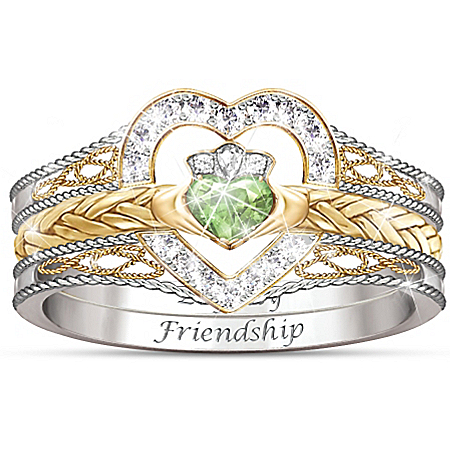 Heart Of Ireland Heart-Shaped Diamonesk Women's Stacking Ring