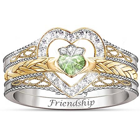Heart Of Ireland Heart-Shaped Diamonesk Women's Stacking Ring