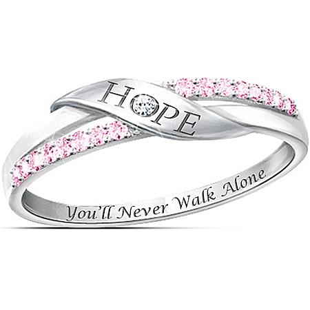 Hope Diamonesk Women's Ring: Support Breast Cancer Awareness