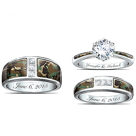Camo His And Hers Personalized Engraved Wedding Ring Set