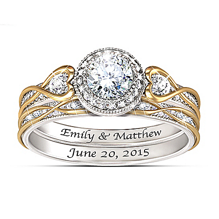 Endless Love Women's Personalized Bridal Wedding Ring Set – Personalized Jewelry