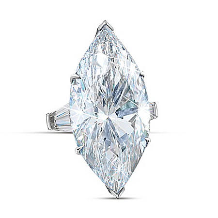 Auction Collection Million Dollar Marquise Sterling Silver Diamonesk Women's Ring