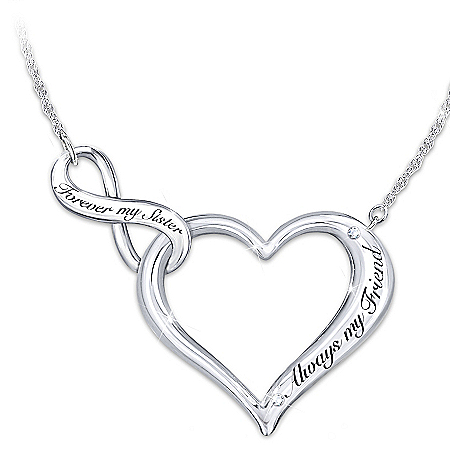 My Sister, My Friend Necklace Engraved Heart Shaped Women's Necklace