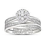 Love's Embrace Personalized Name-Engraved Diamond Bridal Ring Set