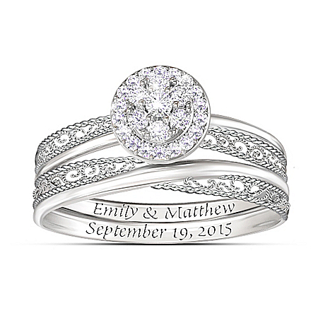 Love's Embrace Personalized Name-Engraved Diamond Bridal Ring Set – Personalized Jewelry