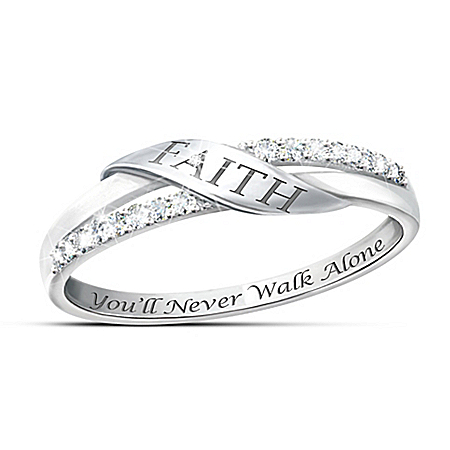 The Faith Sterling Silver Engraved Diamond Women's Ring