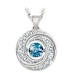 Swirls Of Sparkle Brilliant Motions Genuine Blue Topaz Pendant Necklace