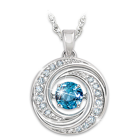 Swirls Of Sparkle Brilliant Motions Genuine Blue Topaz Pendant Necklace