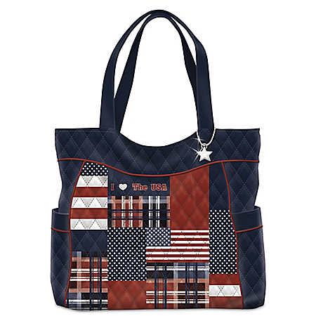 All American Style I Love The USA American Flag Quilted Tote Bag