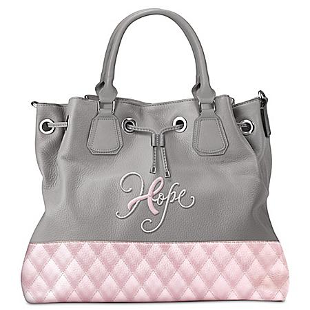Hope Breast Cancer Awareness Pink And Gray Bucket Handbag