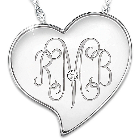 Daughter, I Love You Personalized Heart-Shaped Diamond Monogram Necklace