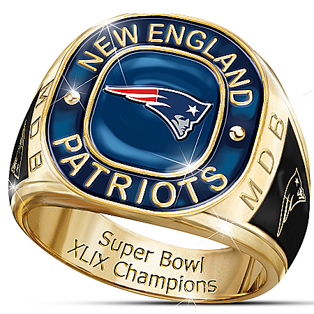New England Patriots Super Bowl XLIX Champions Personalized Men's Ring