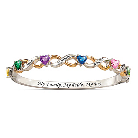 My Family, My Pride, My Joy Personalized Bracelet With Birthstones And Names