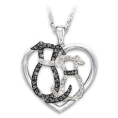 Pawsitively Perfect Together Women's Crystal Pendant Necklace