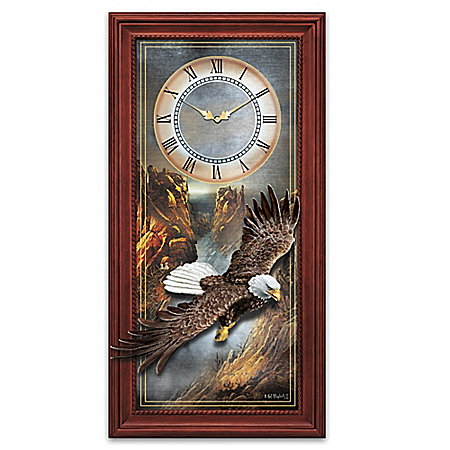 Ted Blaylock Majestic Flight Bald Eagle Wall Clock