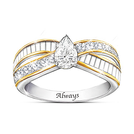 Loving Memories 18K Gold-Plated White Topaz Ring