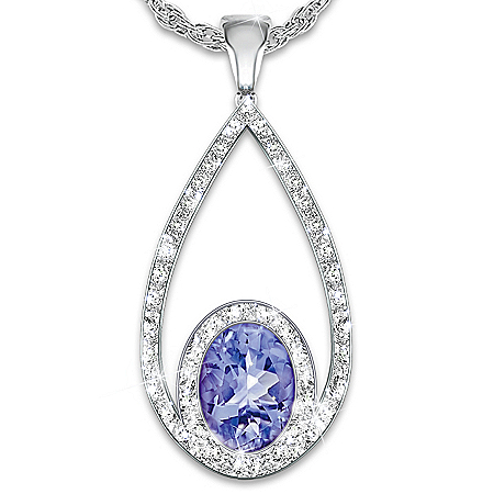 Tanzanite Opulence Teardrop Shaped Diamond Pendant Necklace