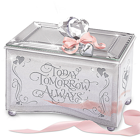 Daughter, Today, Tomorrow, Always Personalized Mirrored Glass Music Box