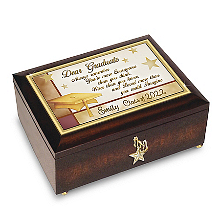 Keepsake Music Box: Congratulations Graduate Personalized Jewelry Music Box With Engraved Name – Graduation Gift Ideas